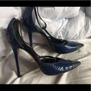 Prabal Gurung blue rare snakeskin heels size 10 40